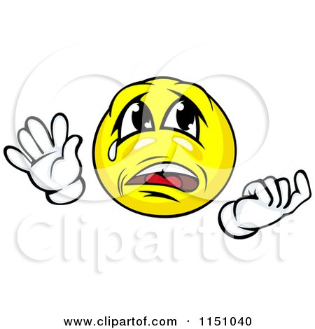 Cartoon of a Crying Yellow Emoticon Smiley - Royalty Free Vector Clipart by Vector Tradition SM