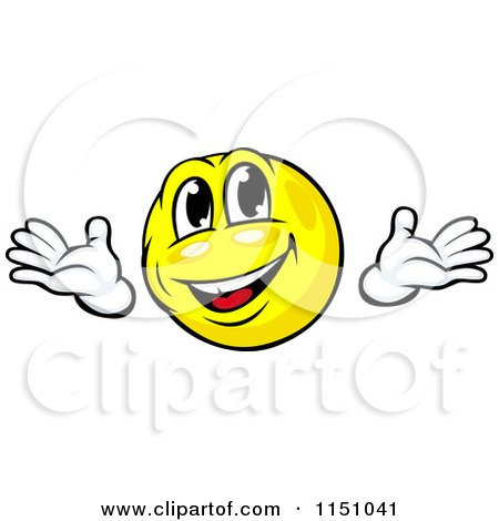 Cartoon of a Friendly Yellow Emoticon Smiley - Royalty Free Vector Clipart by Vector Tradition SM