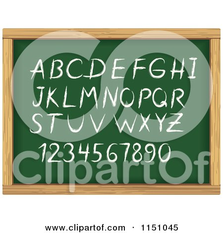 Clipart of Alphabet Letters and Numbers on a Chalk Board - Royalty Free Vector Clipart by Vector Tradition SM