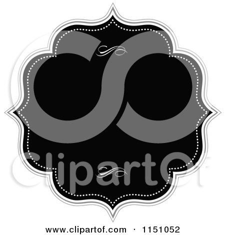 Clipart of a Black and White Invitation Frame with Dots and Swirls - Royalty Free Vector Clipart by BestVector