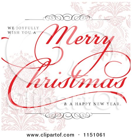 Clipart of a Merry Christmas Greeting over Pastel Damask - Royalty Free Vector Clipart by BestVector