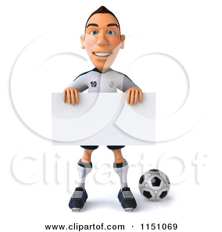 Clipart of a 3d White German Soccer Player Holding a Sign 3 - Royalty Free CGI Illustration by Julos