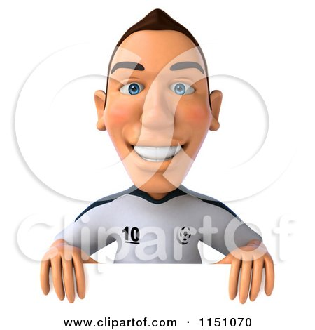 Clipart of a 3d White German Soccer Player Holding a Sign 4 - Royalty Free CGI Illustration by Julos
