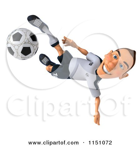 Clipart of a 3d White German Soccer Player Kicking 3 - Royalty Free CGI Illustration by Julos