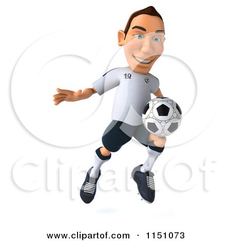 Clipart of a 3d White German Soccer Player Jumping - Royalty Free CGI Illustration by Julos