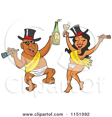 Cartoon of a Partying New Year Adult Black Couple Dancing in Baby Diapers Sashes and Hats and Holding Alcohol - Royalty Free Vector Clipart by LaffToon