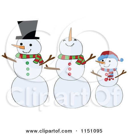 Cartoon of a Snowman Family - Royalty Free Vector Clipart by peachidesigns