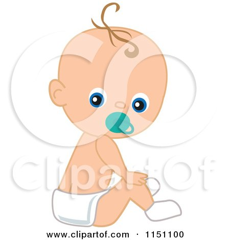 Cute Sitting Baby Boy with a Pacifier Posters, Art Prints