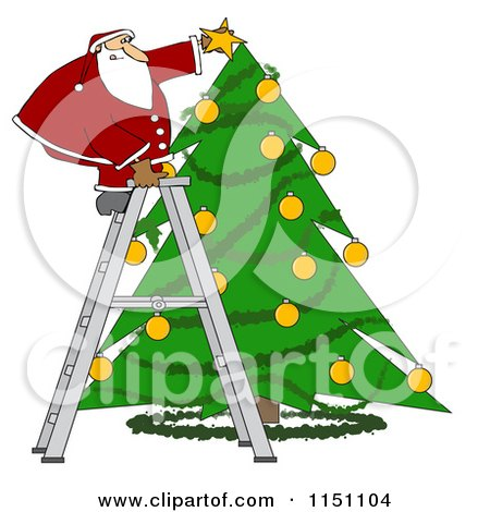 Cartoon of Santa Standing on a Ladder and Putting a Star on a Christmas Tree - Royalty Free Vector Clipart by djart