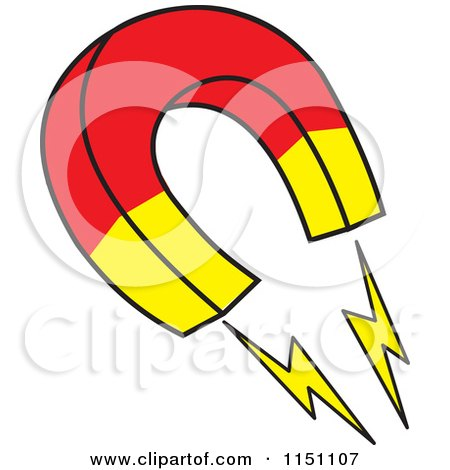 Cartoon of a Horseshoe Magnet - Royalty Free Vector Clipart by Johnny Sajem