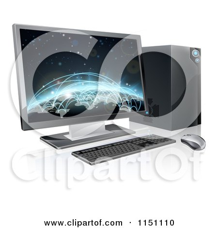 Clipart of a 3d Destkop Pc with a Globe and Network Connections on the Screen - Royalty Free Vector Clipart by AtStockIllustration