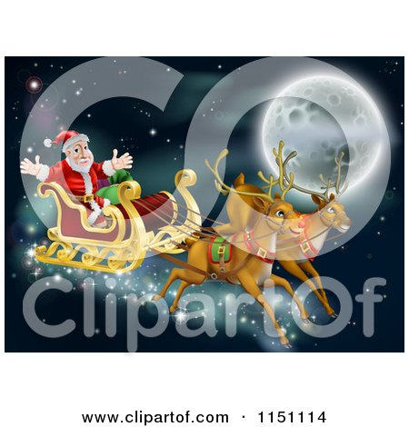 Cartoon of Santas Reindeer and Sleigh Flying near the Moon on Christmas Eve - Royalty Free Vector Clipart by AtStockIllustration