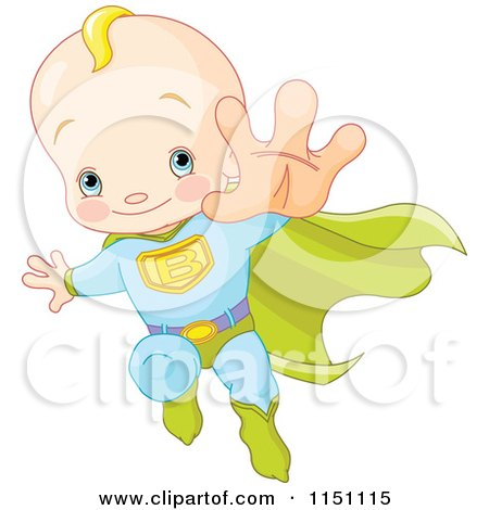 Cartoon of a Blond Super Baby Boy Flying - Royalty Free Vector Clipart by Pushkin
