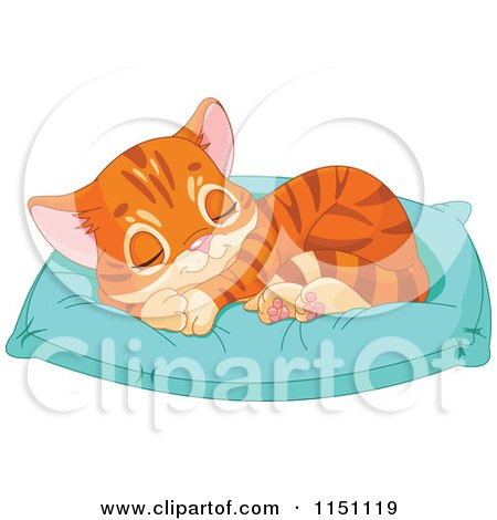 Cartoon of a Cute Orange Tabby Kitten Sleeping on a Pillow - Royalty Free Vector Clipart by Pushkin