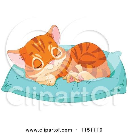 Cute Orange Tabby Kitten Sleeping on a Pillow Posters, Art Prints