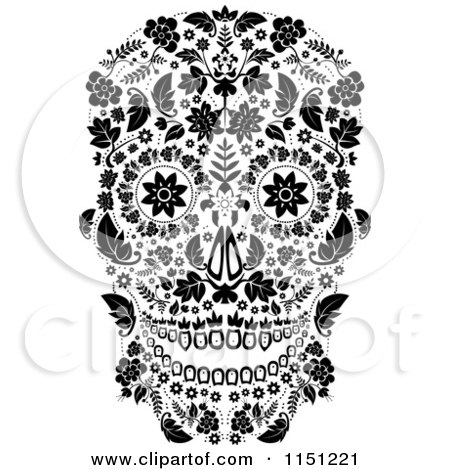 Clipart of a Black and White Ornate Floral Day of the Dead Skull - Royalty Free Vector Clipart by lineartestpilot