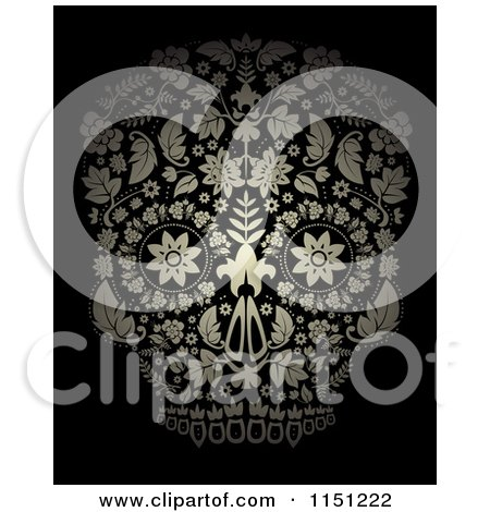 Clipart of a Golden Ornate Floral Day of the Dead Skull on Black - Royalty Free Vector Clipart by lineartestpilot
