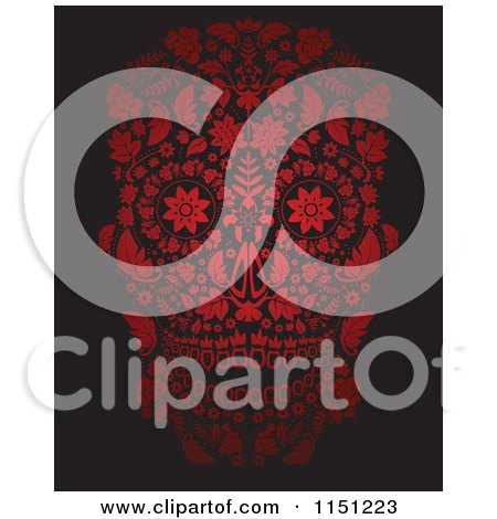 Clipart of a Red Ornate Floral Day of the Dead Skull - Royalty Free Vector Clipart by lineartestpilot