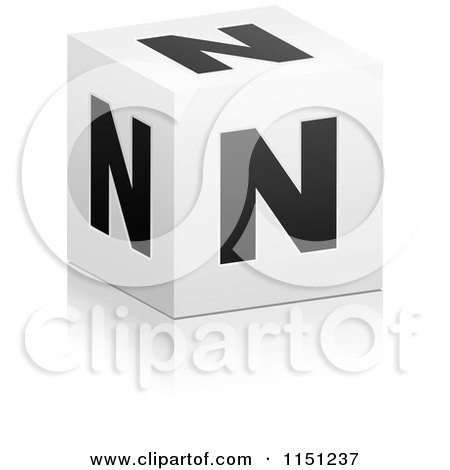 Clipart Of A 3d Black And White Letter F Cube Box Royalty Free