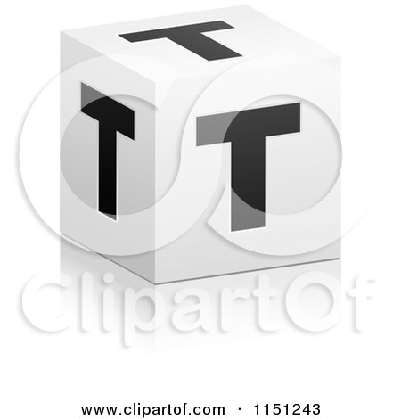 3d black and white letter t cube box posters art prints