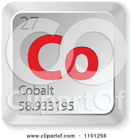 3d Red And Silver Cobalt Chemical Element Keyboard Button Posters