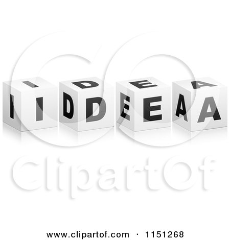 Clipart of 3d Black and White Letter Cubes Spelling IDEA - Royalty Free Vector Clipart by Andrei Marincas