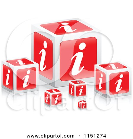 Clipart of 3d Red I Information Cubes - Royalty Free Vector Clipart by Andrei Marincas