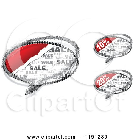 Clipart of Grungy Sales Chat Balloons - Royalty Free Vector Clipart by Andrei Marincas