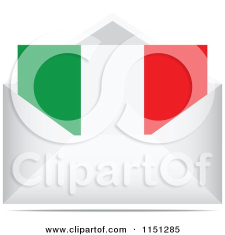 Clipart of an Italian Flag Letter in an Envelope - Royalty Free Vector Clipart by Andrei Marincas