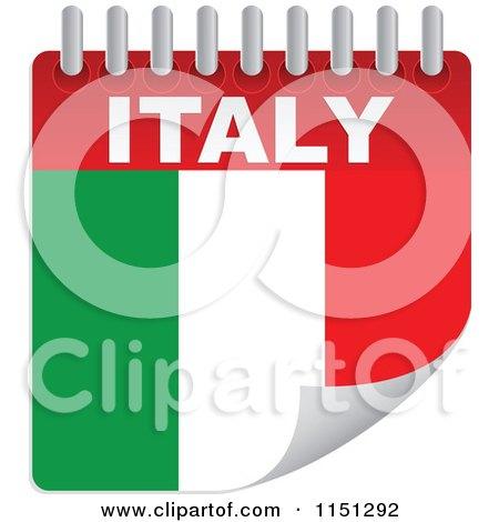 Clipart of an Italian Flag Calendar - Royalty Free Vector Clipart by Andrei Marincas