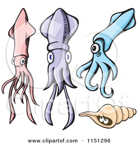 Cartoon of Pink Purple and Blue Squids with a Shell - Royalty Free Vector Clipart by Any Vector
