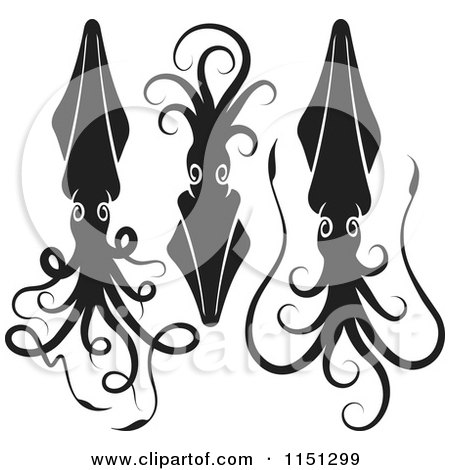 Cartoon of Three Black and White Squids - Royalty Free Vector Clipart by Any Vector
