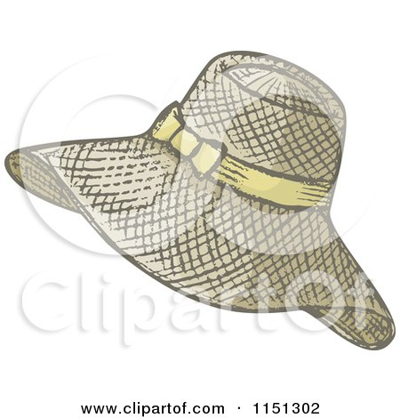 Cartoon of a Ladies Summer Hat - Royalty Free Vector Clipart by Any Vector