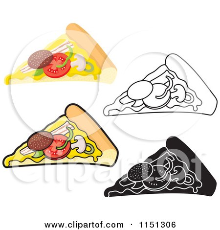 Cartoon of Slices of Pizza - Royalty Free Vector Clipart by Any Vector