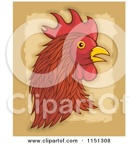 Cartoon of a Brown Rooster Head - Royalty Free Vector Clipart by Any Vector