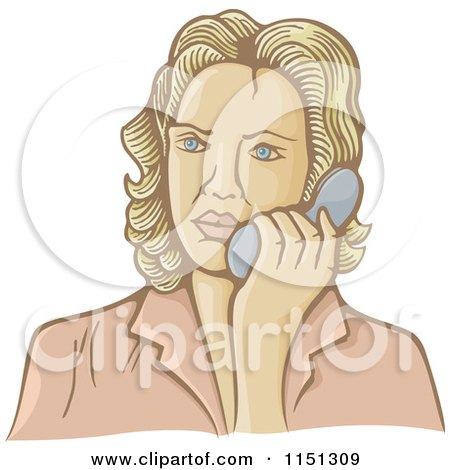 Cartoon of a Retro Woman Talking on a Telephone - Royalty Free Vector Clipart by Any Vector
