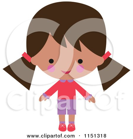 Cartoon of a Happy Hispanic Girl Dressed in Pink and Purple - Royalty Free Illustration by peachidesigns