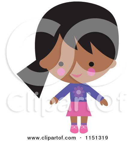 Cartoon of a Happy Black or Indian Girl Dressed in Pink and Purple - Royalty Free Illustration by peachidesigns