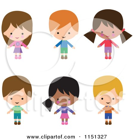 Cartoon of Six Happy Children - Royalty Free Illustration by peachidesigns