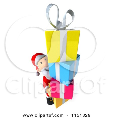Clipart of a 3d Happy Santa Carrying a Stack of Presents - Royalty Free CGI Illustration by Julos