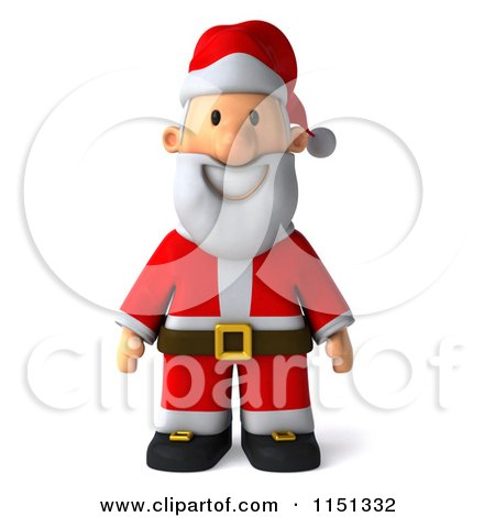 Clipart of a 3d Happy Santa Smiling - Royalty Free CGI Illustration by Julos