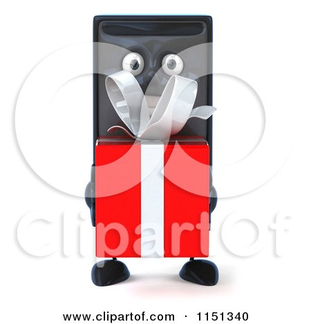 Clipart of a 3d Computer Tower Mascot Holding a Present - Royalty Free CGI Illustration by Julos