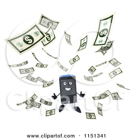 Clipart of a 3d Computer Tower Mascot and Floating Cash - Royalty Free CGI Illustration by Julos