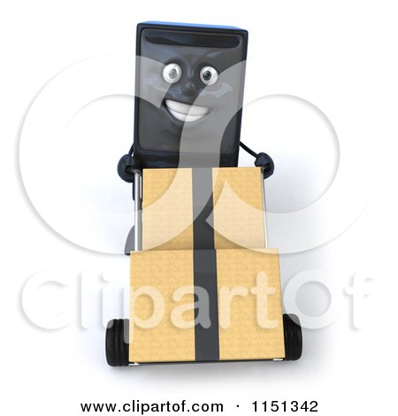 Clipart of a 3d Computer Tower Mascot Pushing Boxes on a Dolly - Royalty Free CGI Illustration by Julos