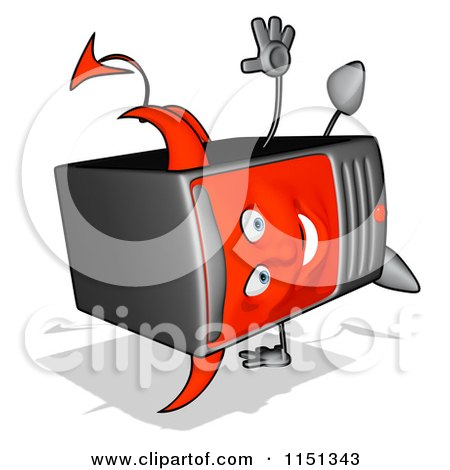 Cartoon of a Devil Desktop Computer Tower Mascot Doing a Hand Stand - Royalty Free Illustration by Julos