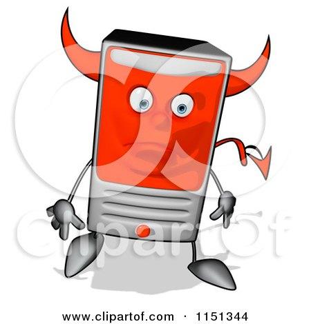 Cartoon of a Sad Devil Desktop Computer Tower Mascot - Royalty Free Illustration by Julos