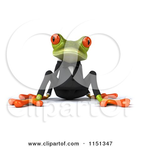 Clipart of a 3d Formal Frog Sitting in a Tuxedo - Royalty Free CGI Illustration by Julos