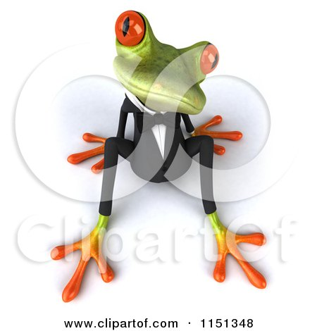 Clipart of a 3d Formal Frog Sitting in a Tuxedo 2 - Royalty Free CGI Illustration by Julos