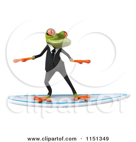 Clipart of a 3d Formal Frog Surfing in a Tuxedo - Royalty Free CGI Illustration by Julos