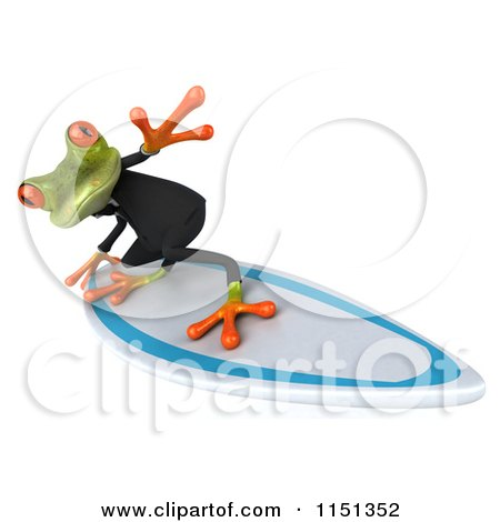 Clipart of a 3d Formal Frog Surfing - Royalty Free CGI Illustration by Julos